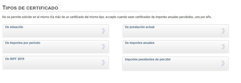 distintos certificados del sepe